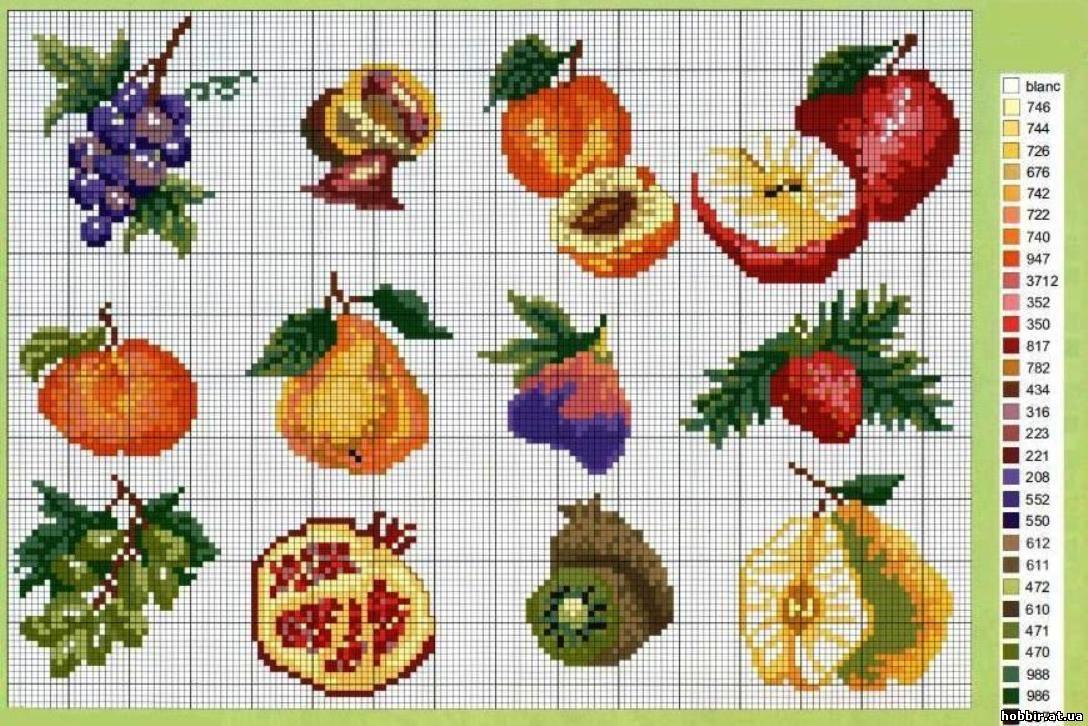 Схемы вышивки крестом фрукты овощи 30