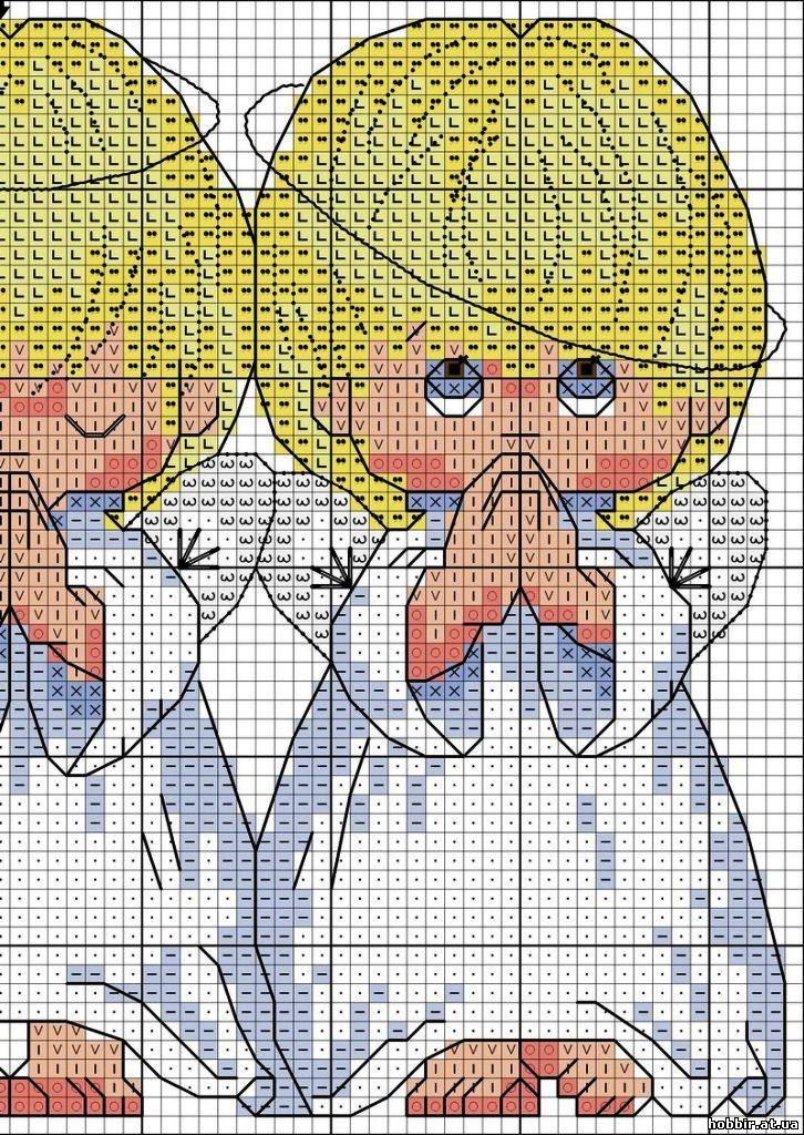 Схемы вышивки крестом. ангелочки