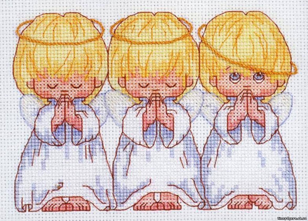 Вышивка крестиком три ангела