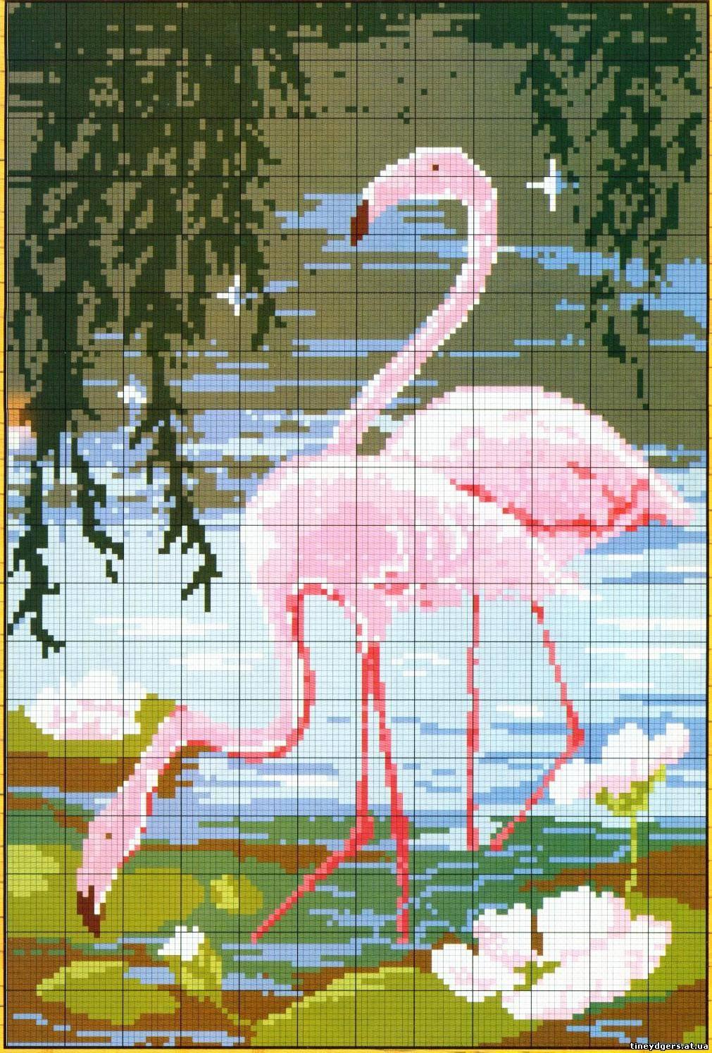 Розовый фламинго вышивка крестом схема