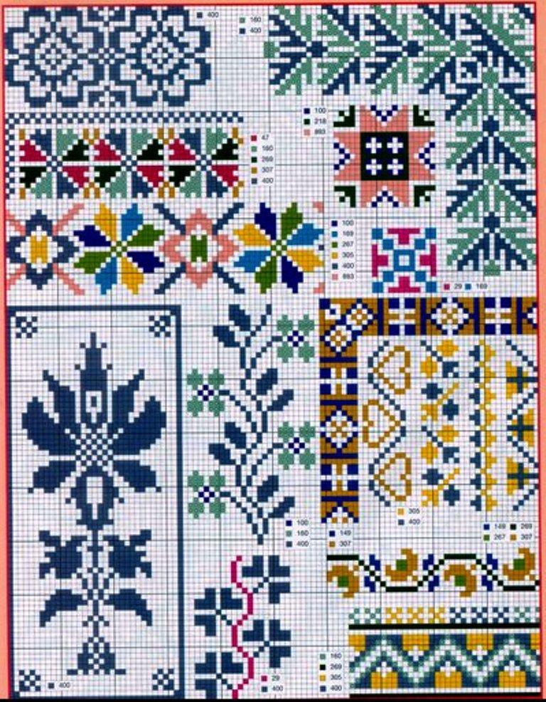 Схематические узоры и мотивы для вышивки крестом