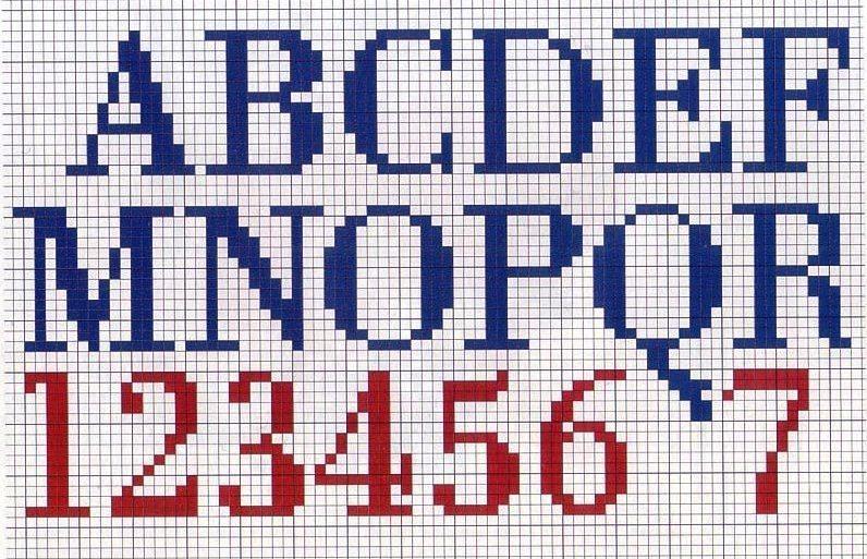 Схема вышивки чисел крестиком 61