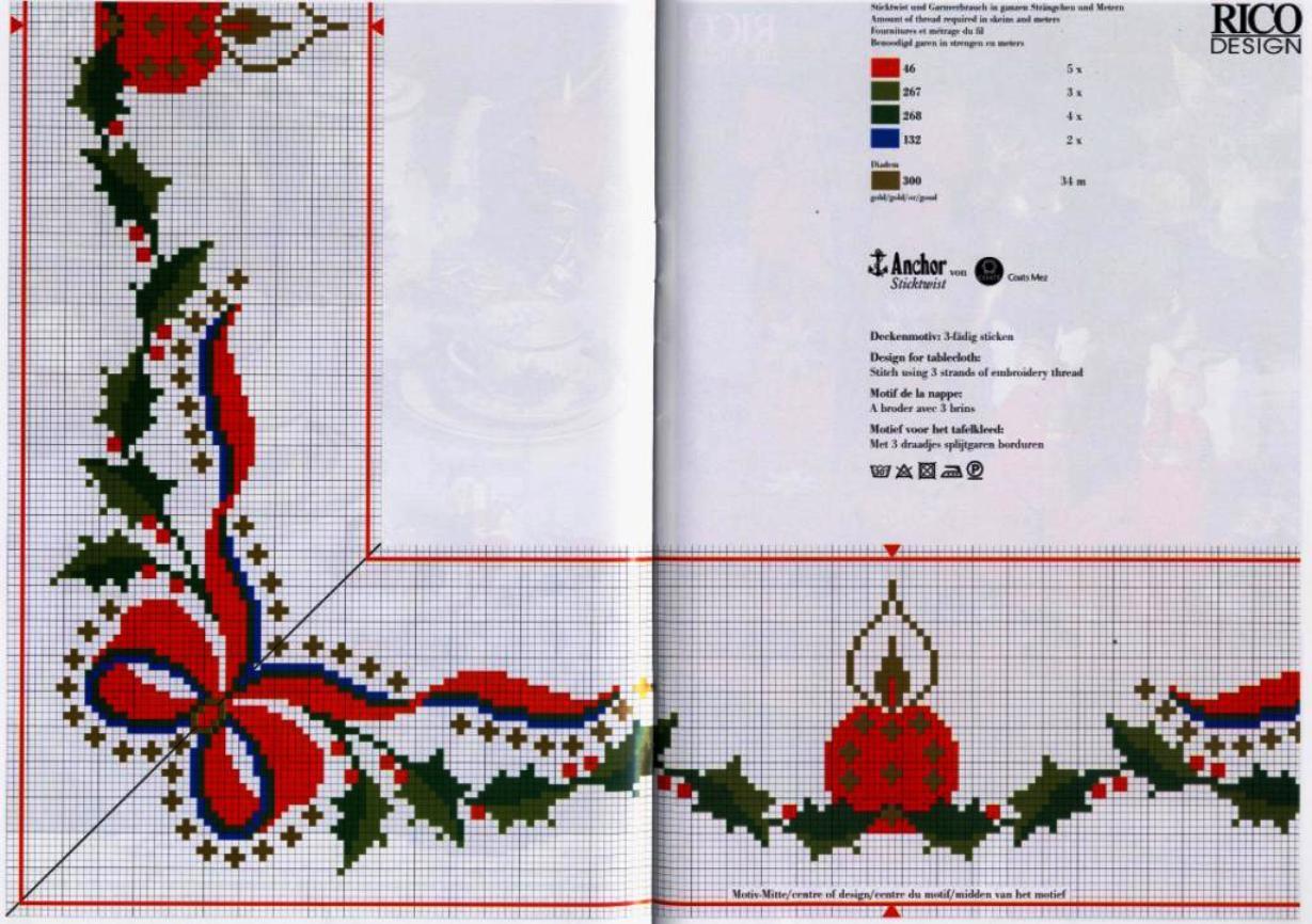 Вышивка крестом узоры схемы скатерти и салфетки