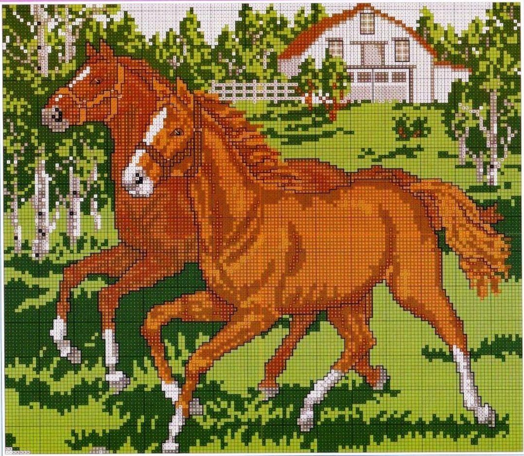 Вышивка крестиком схемы с лошадьми