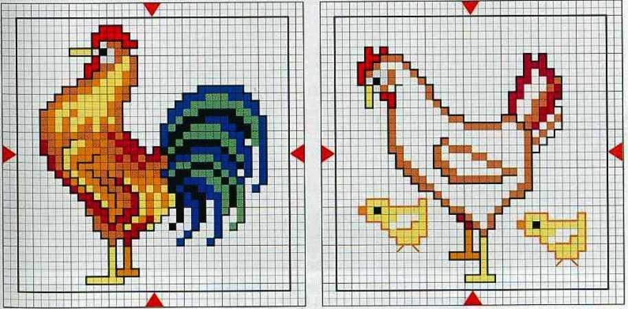 Схема с петушками / Вышивка / Схемы вышивки крестом - Pinterest 885