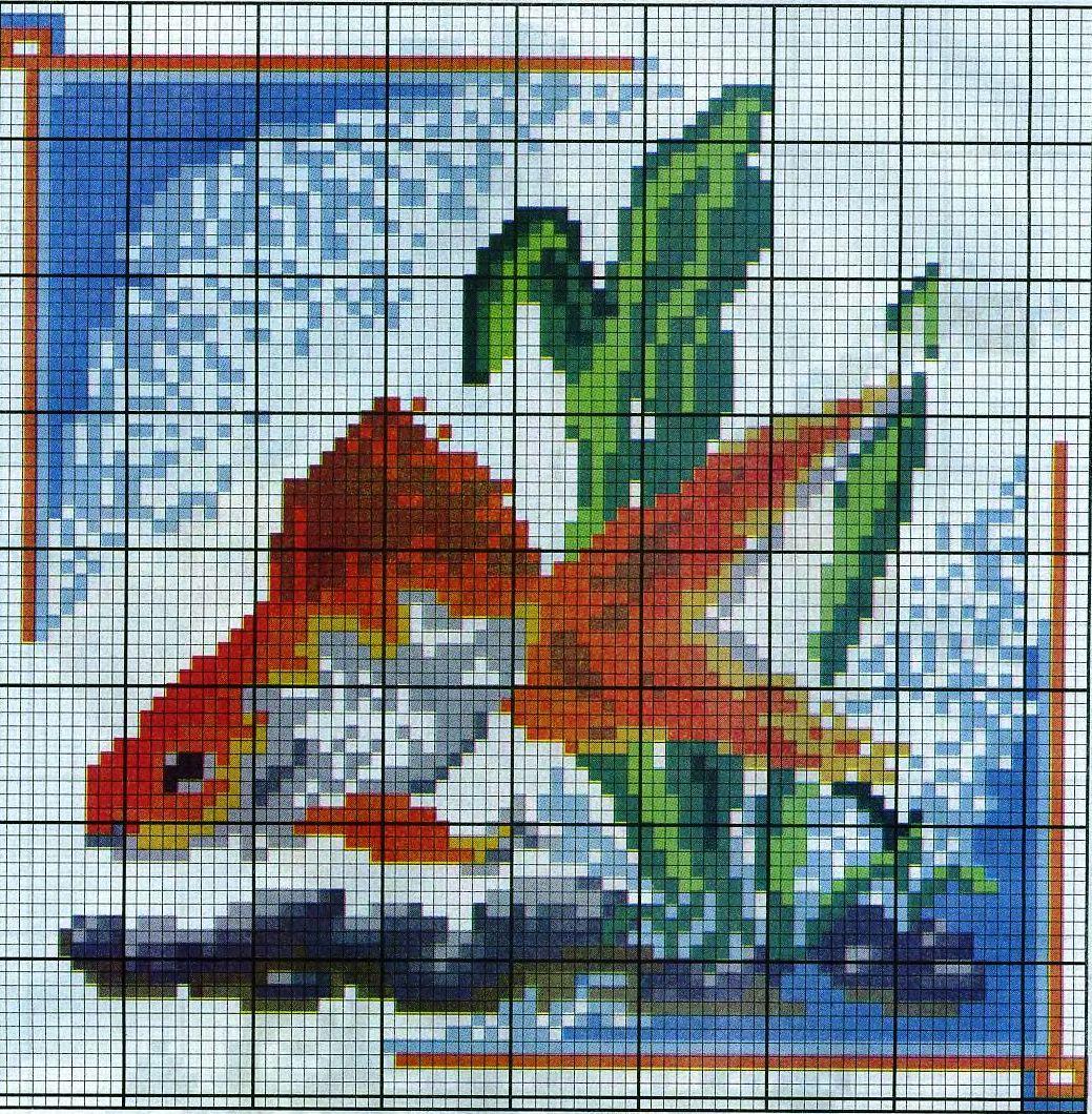 Вышивка рыбки крестом бесплатные схемы