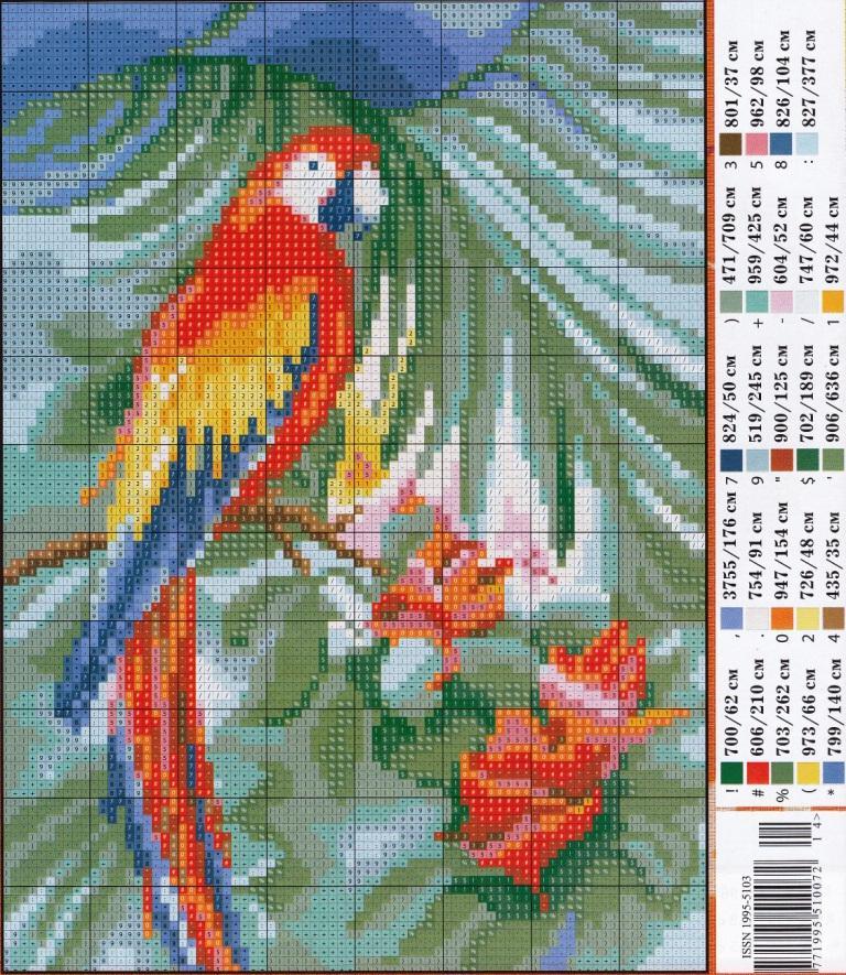 Скачать схемы вышивок попугаи