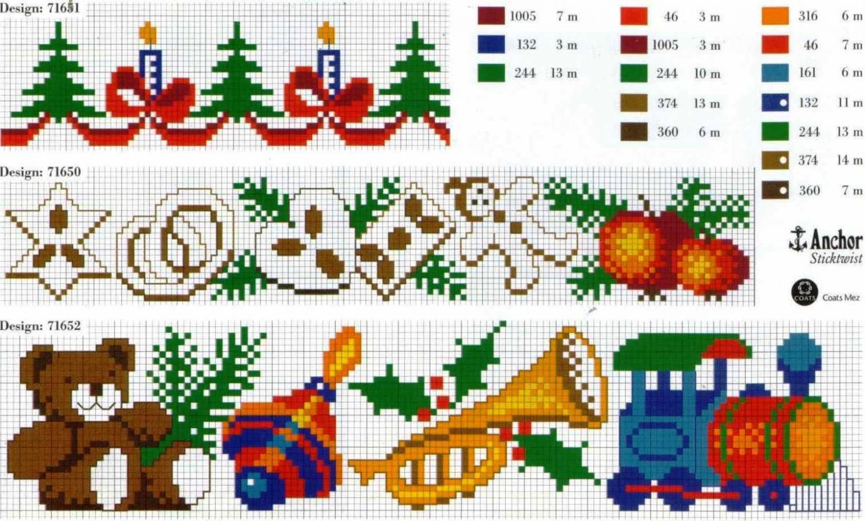 Схемы для вышивки крестом новогодние на скатерти 69