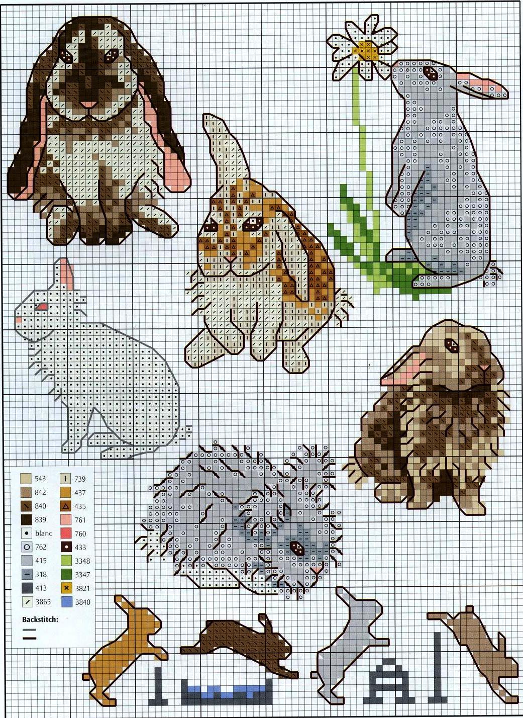 Схемы для вышивки крестом зайцев-кроликов 62