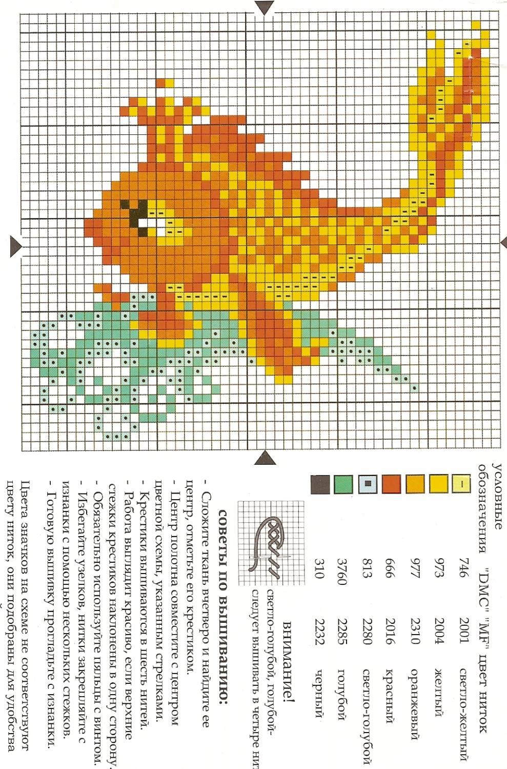 Скачать схему для вышивки крестом рыбка