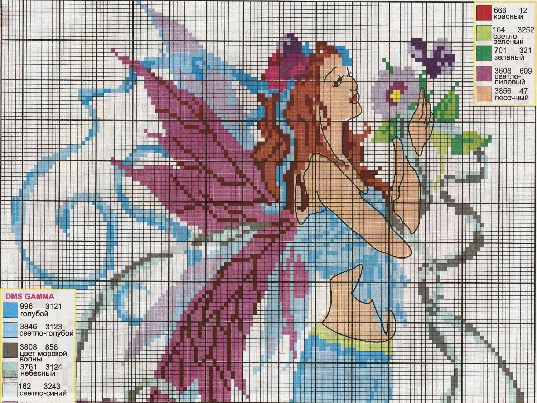 Схема для вышивки фея