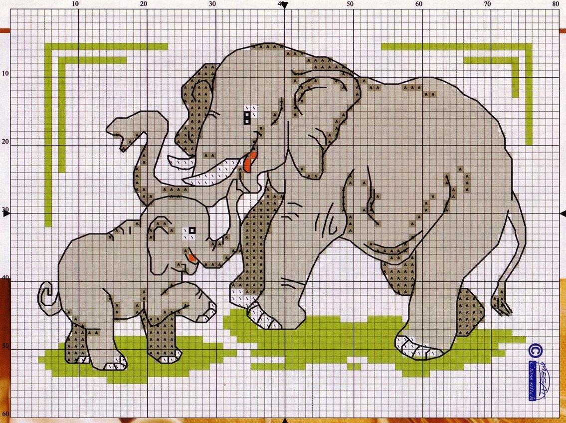 Семь слоников вышивки