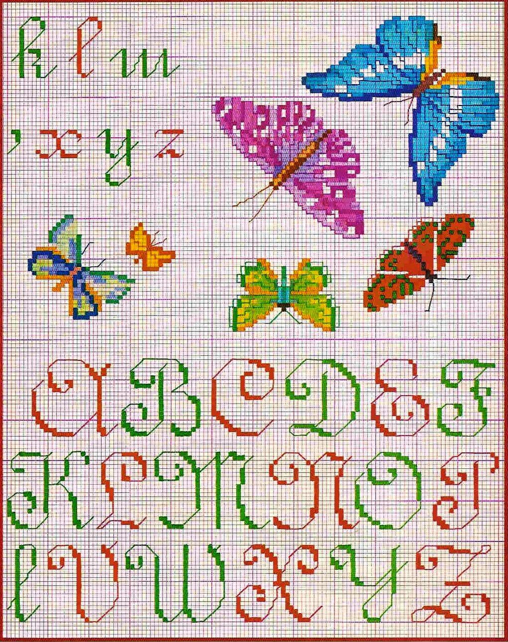 Схемы для вышивки цифр и букв русского алфавита крестом 96