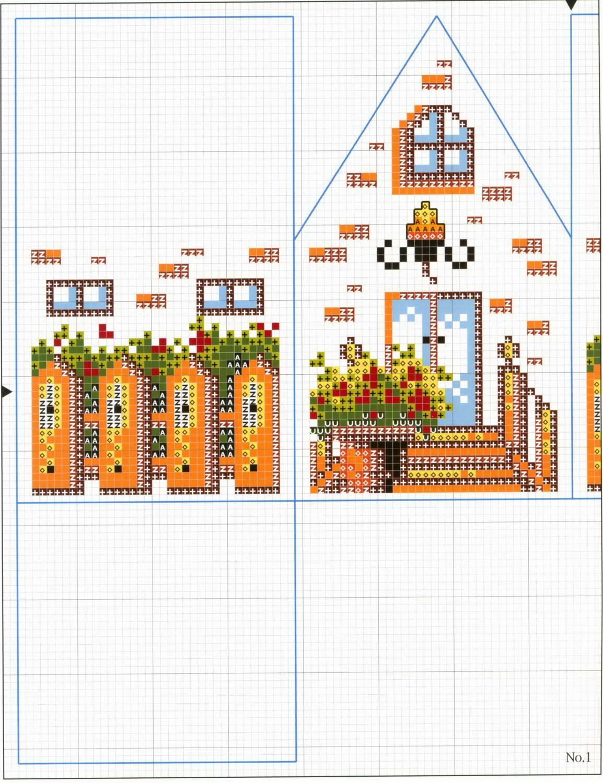 Вышивка схемы объемные домики 75