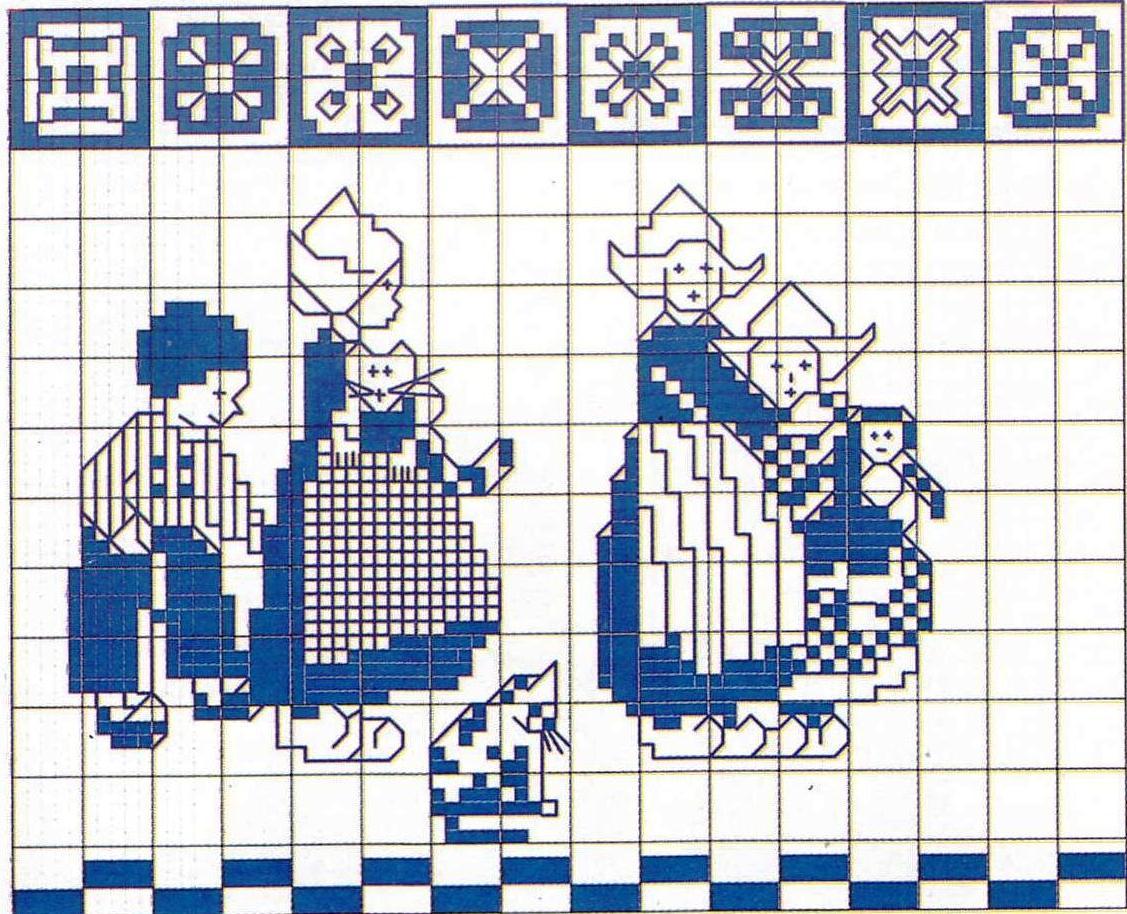 Вышивка скатерти крестом гжель схемы