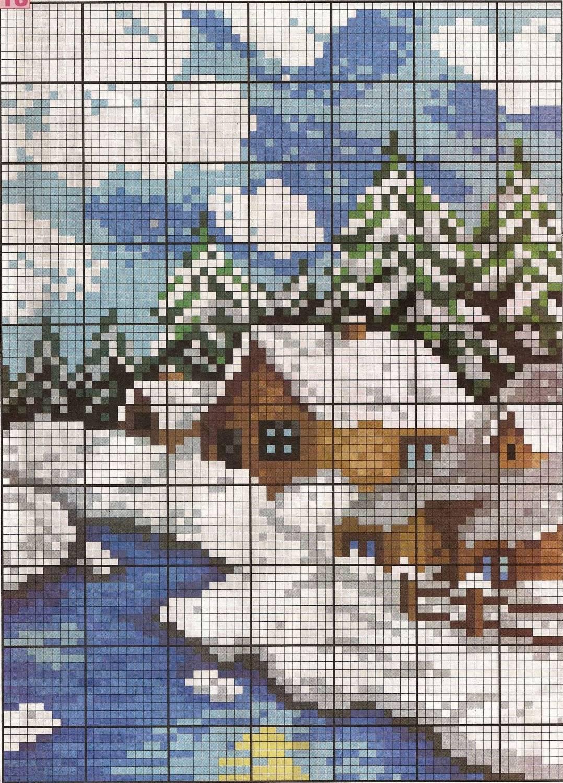 Зимний пейзаж схемы вышивки крестиком