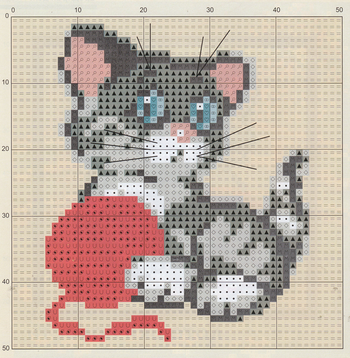 Вышивка схема кот фото