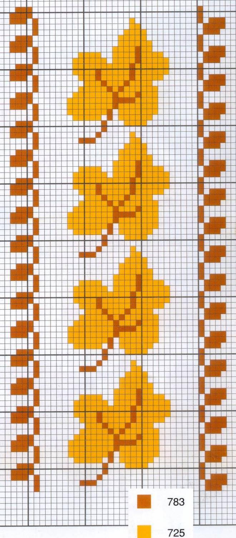 Вышивка: листья крестом. Бесплатная схема