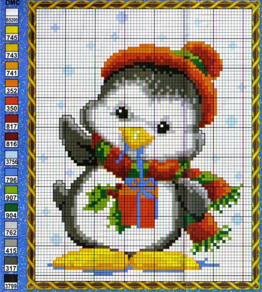 Пингвины вышивка крестиком