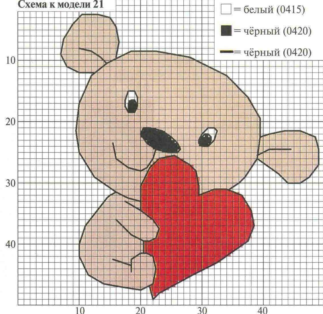 Схема вышивки крестом валентинок 991