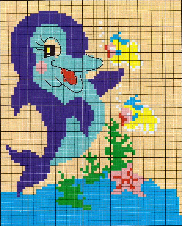 Вышивка крестом: Дельфины схема 29