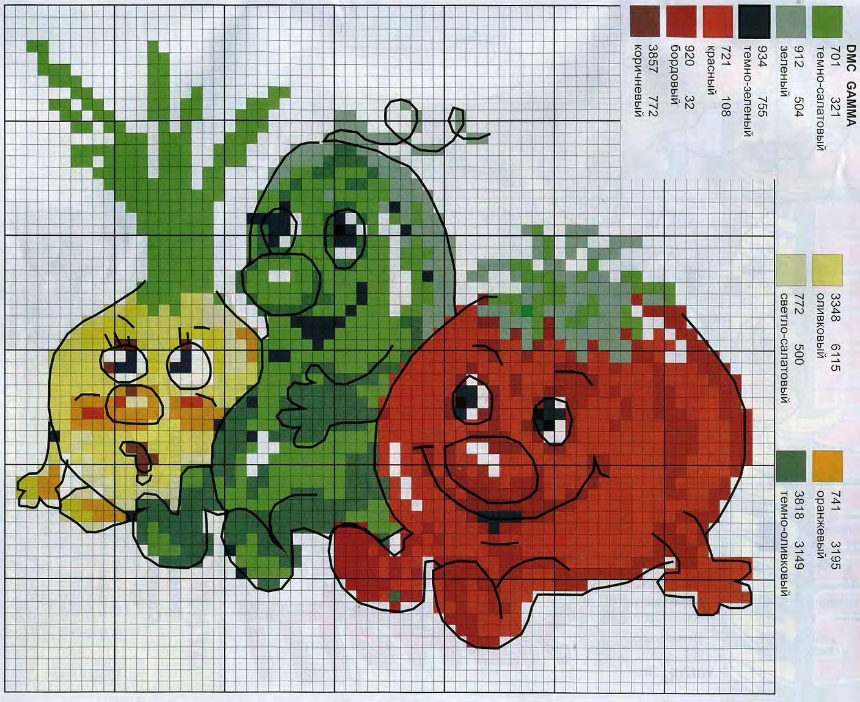 Схема вышивки крестиком овощей