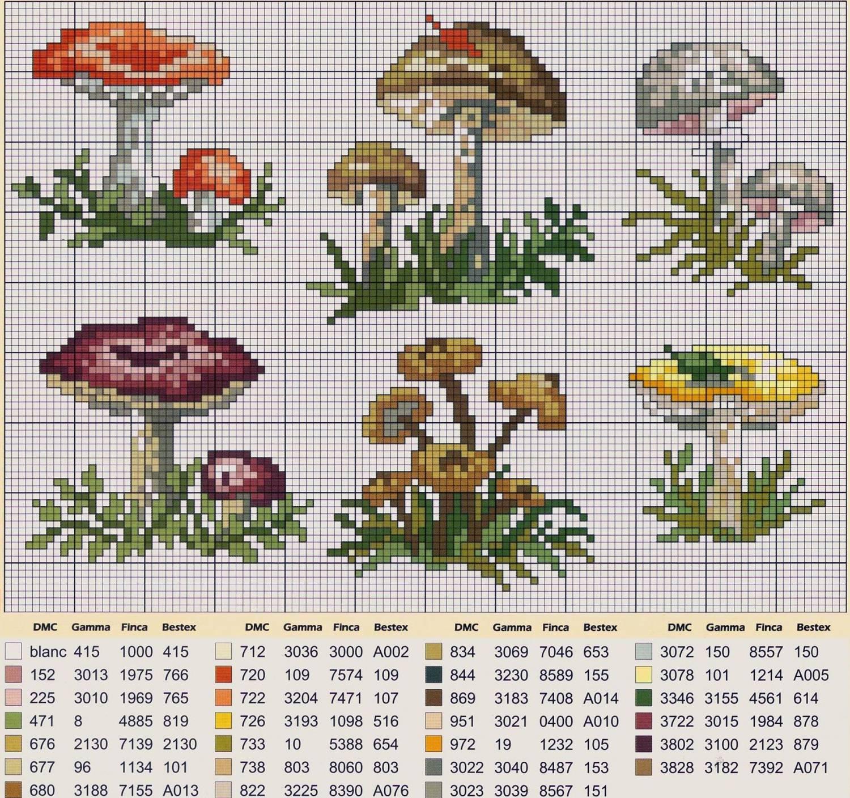 Схема вышивки гриба крестом