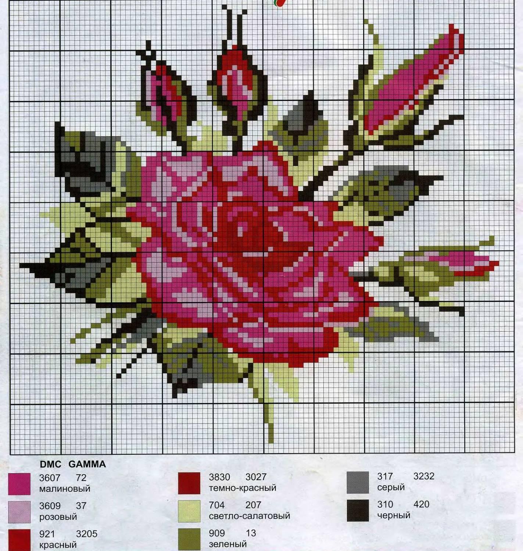 Розовые схемы вышивок крестом 384