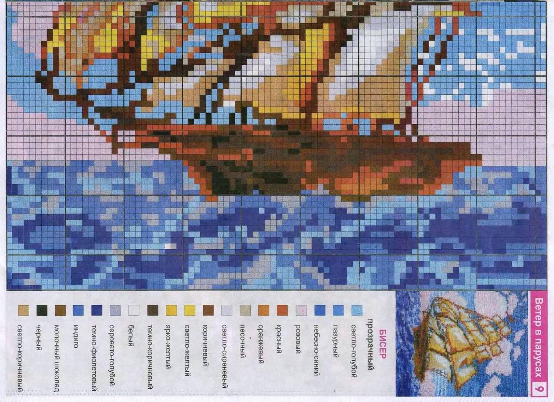 Схемы для вышивки бисером парусники