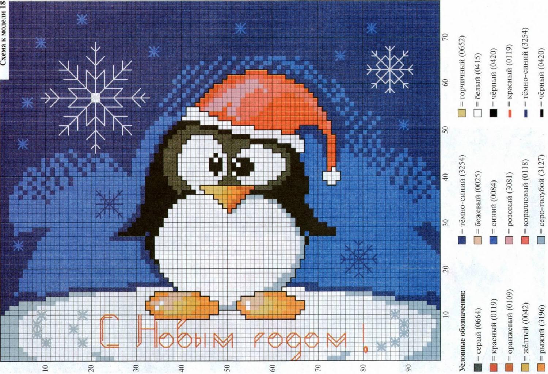 Детская вышивка пингвин схема