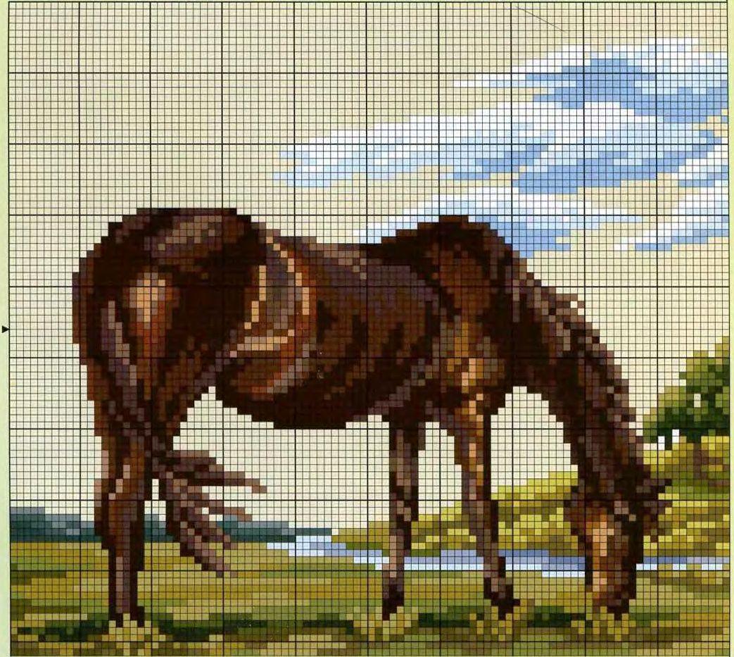Схема вышивки крестом лошади большого размера 65