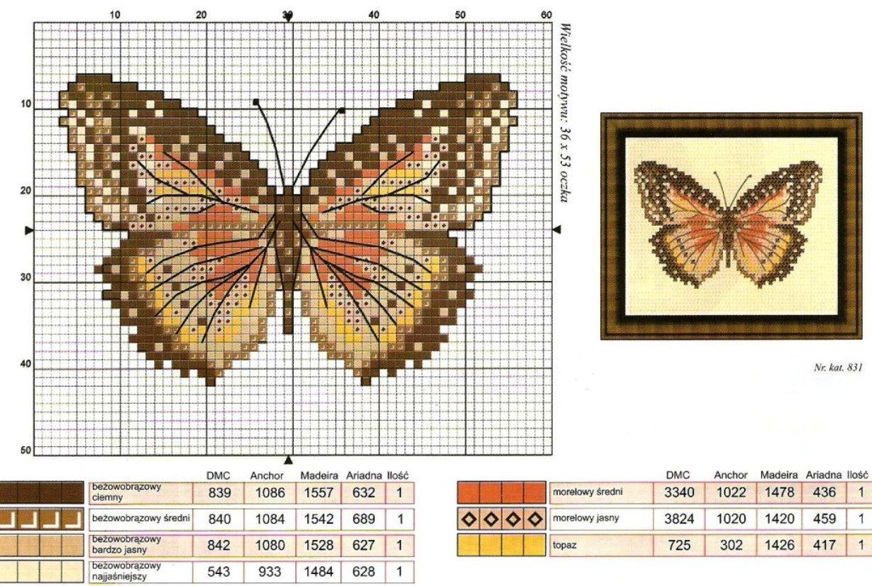 Схема бабочек для вышивания крестиком