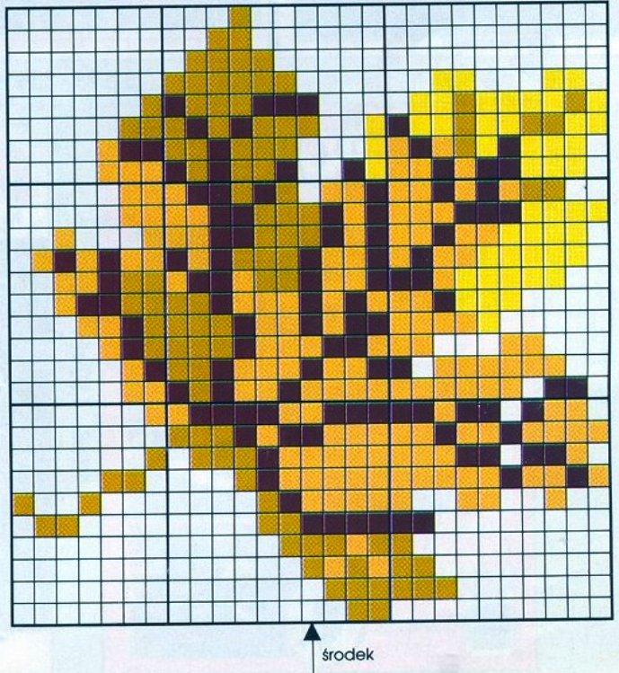 Осенний лист схема вышивки крестом