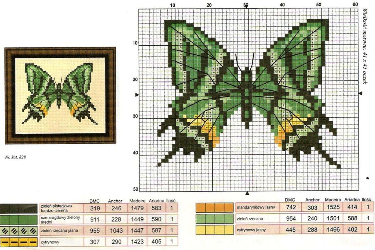 Фото вышивки крестом бабочки схемы