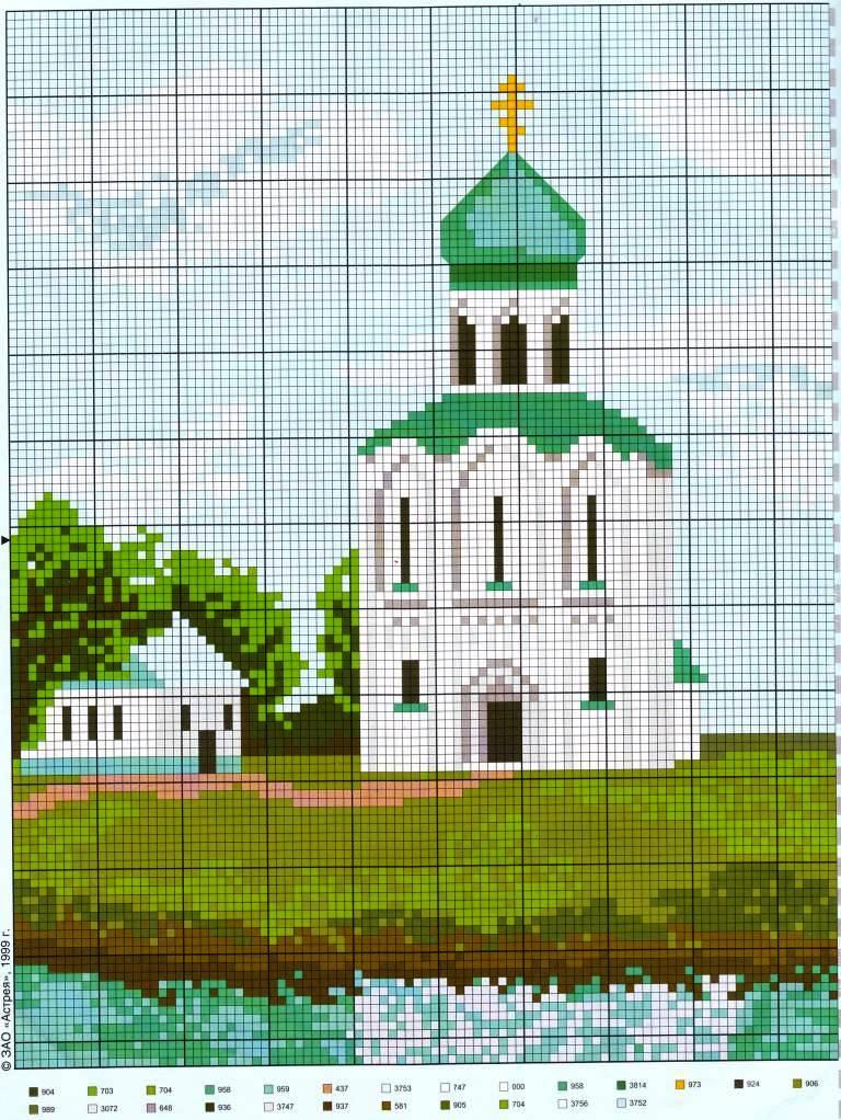 Схема вышивок церквей и храмов