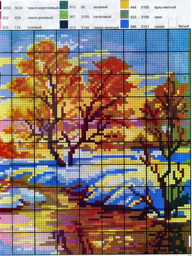 Вышивка крестом пейзажисхемы 8