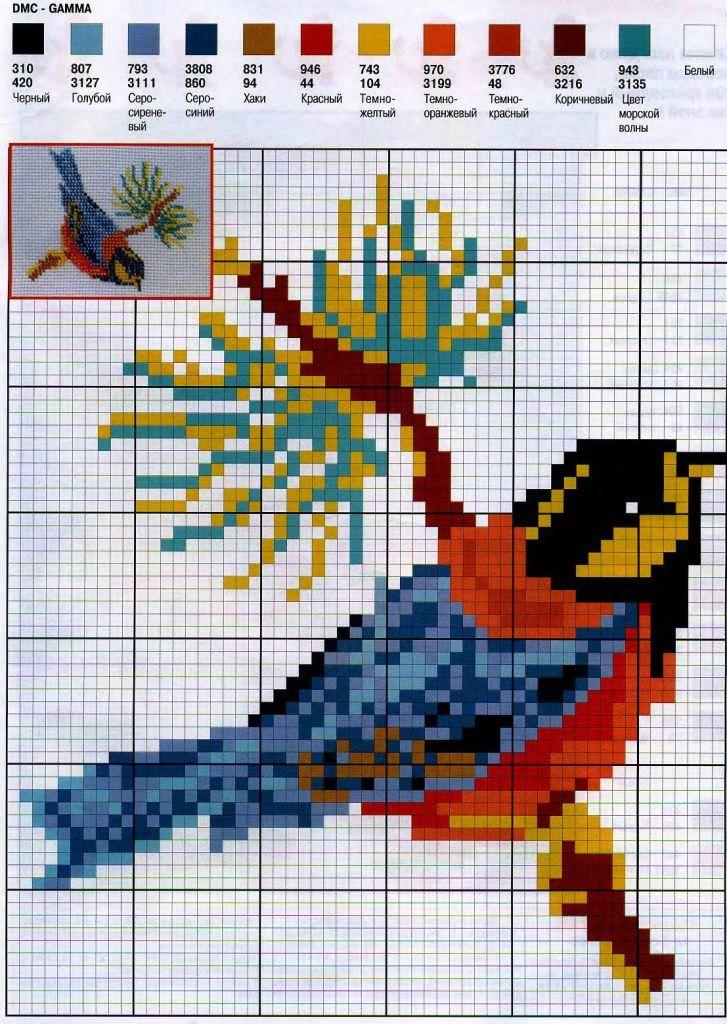 Схемы вышивок крестом птица