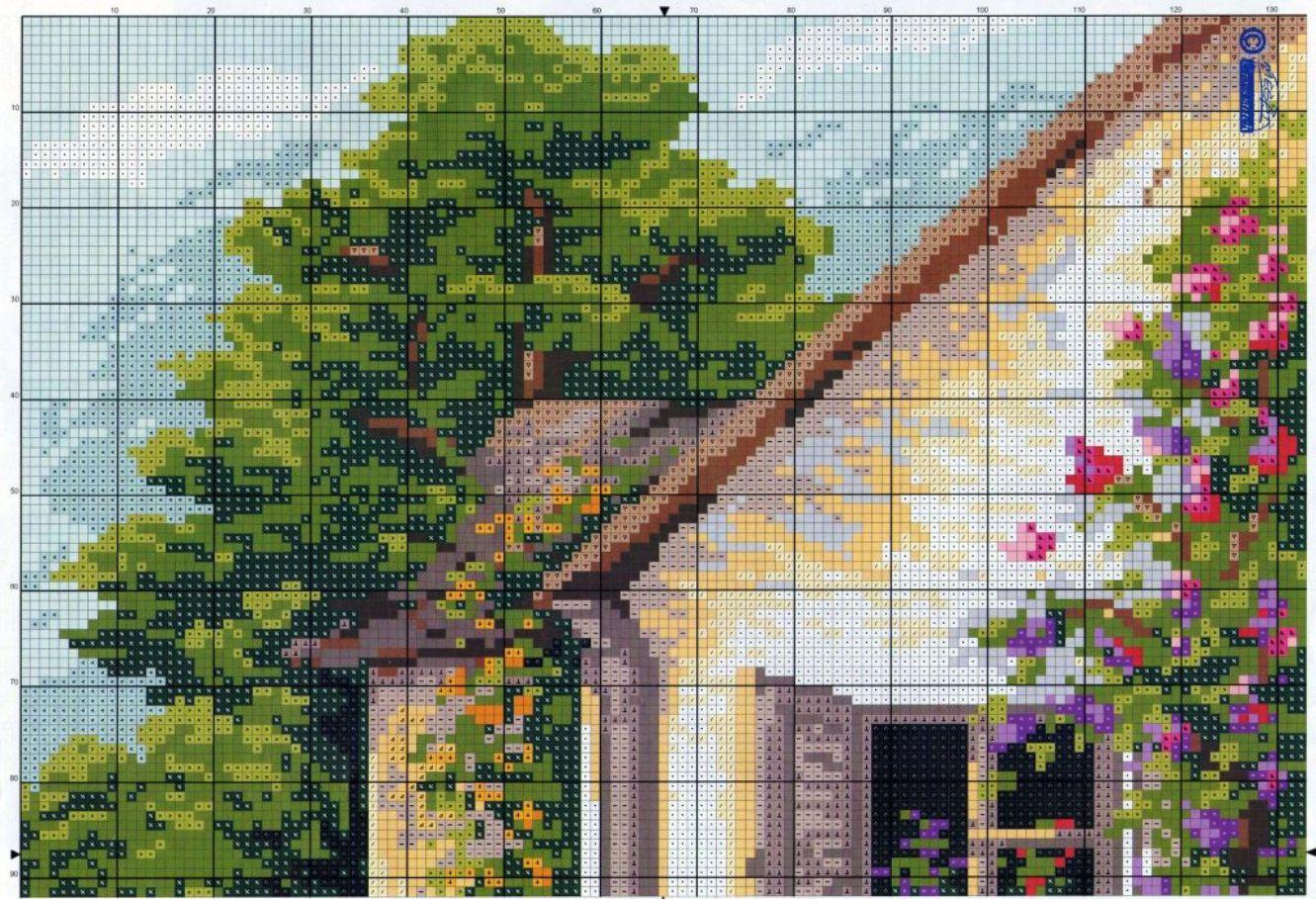 Вышивка крестом схемы домов 100