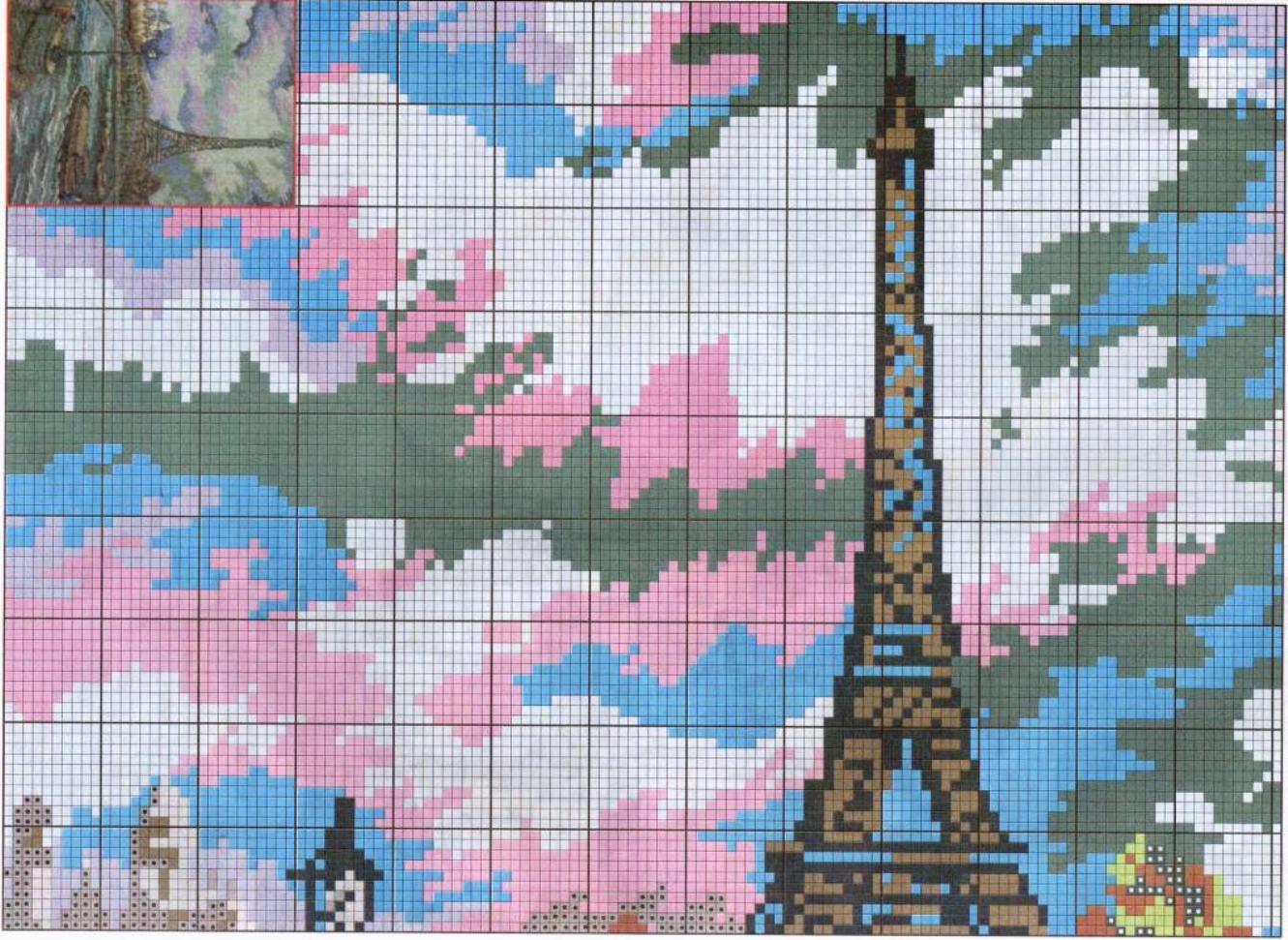Париж схемы вышивка крестом