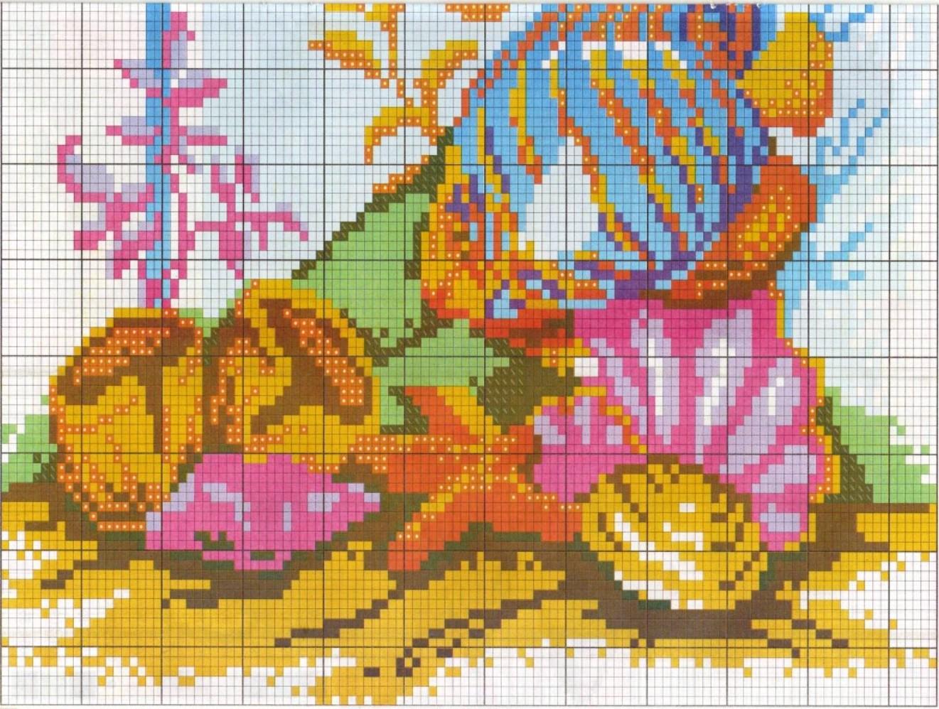 Схема вышивки крестом аквариума