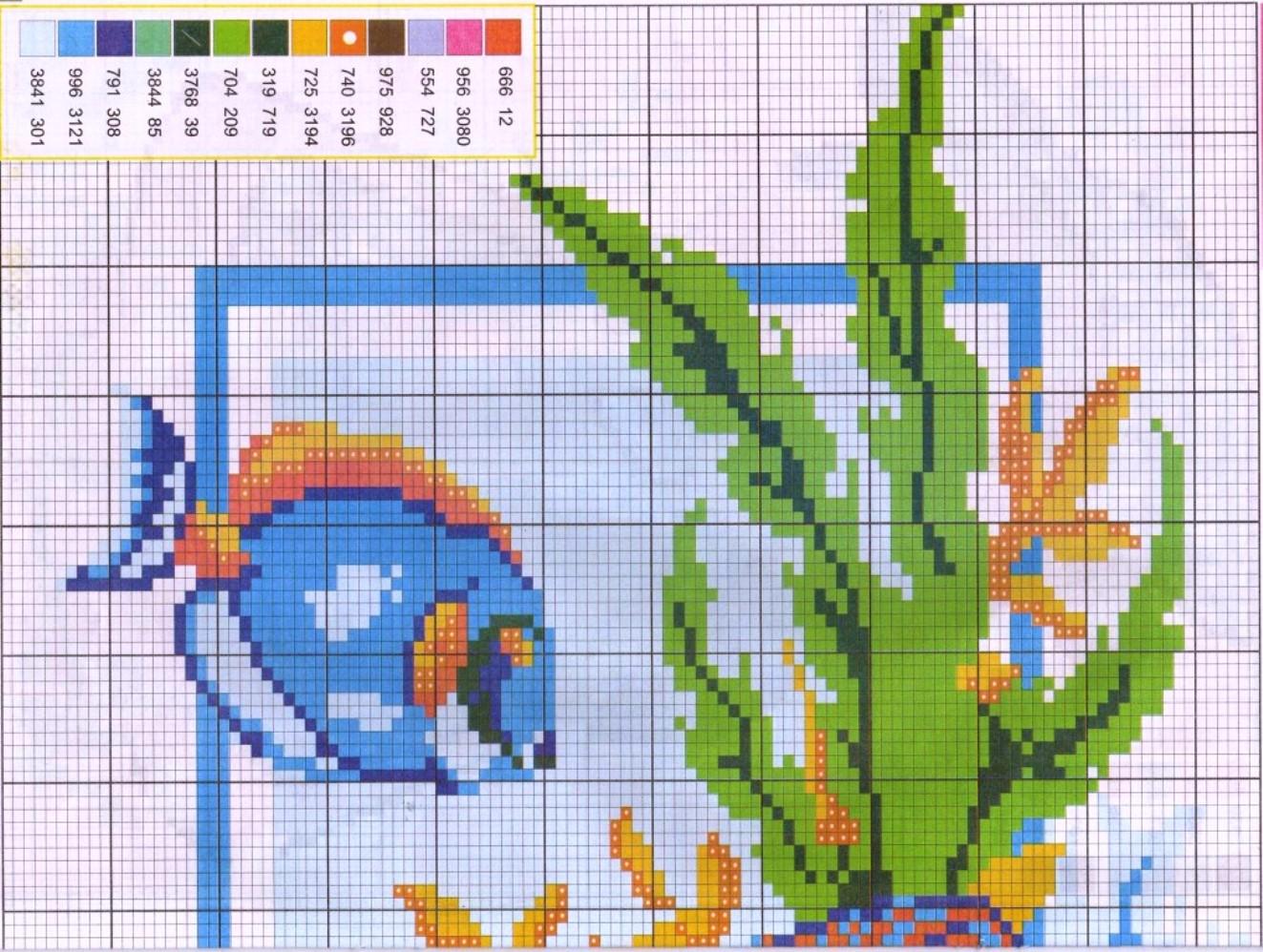 Вышивка крестом схема аквариум