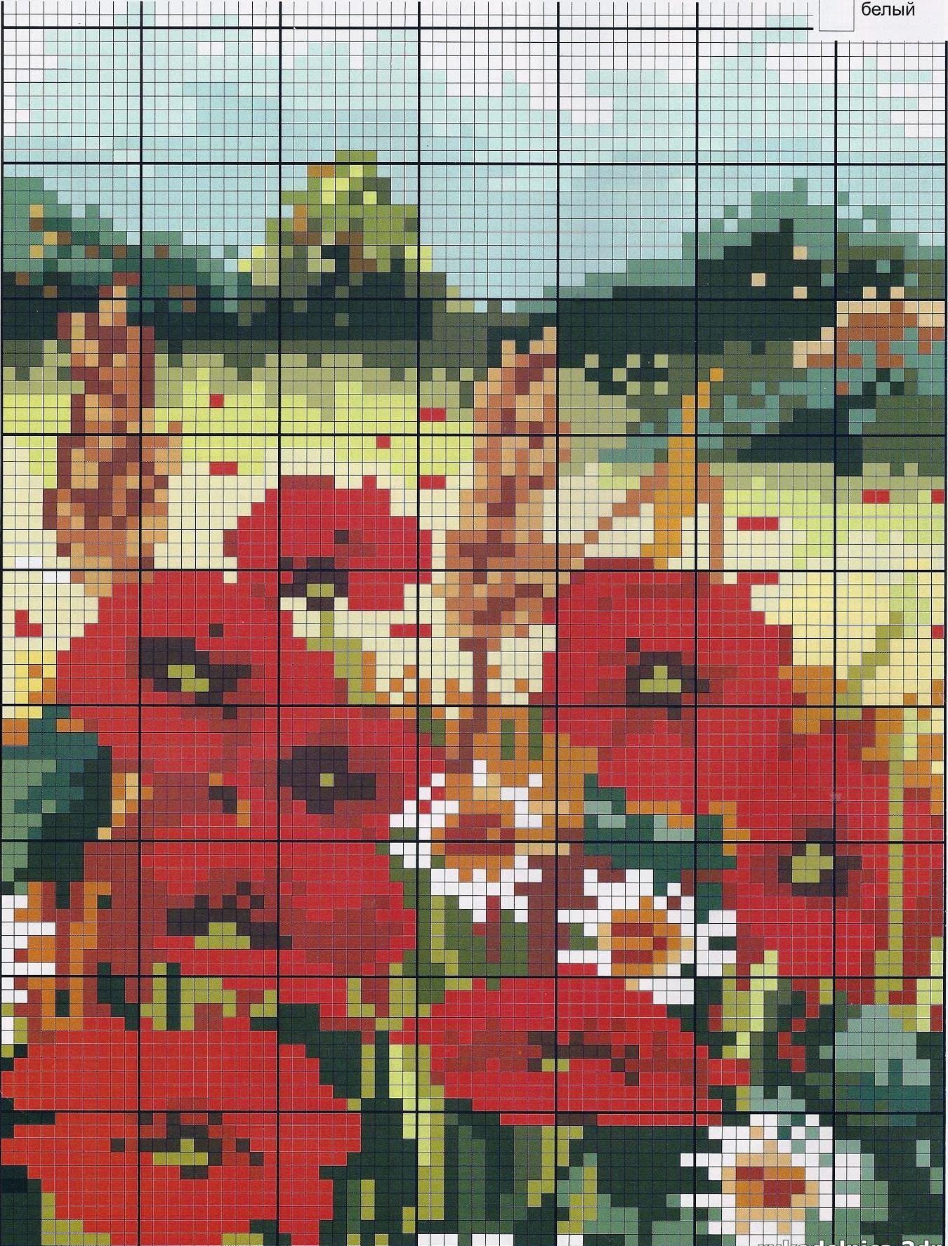 Схемы вышивки крестом пейзаж с цветами