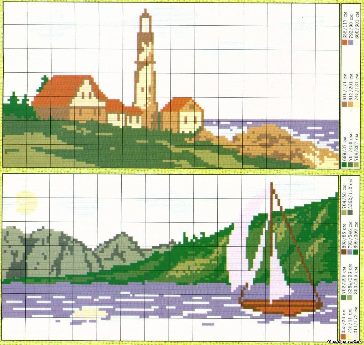 Вышивка крестом миниатюры пейзажей