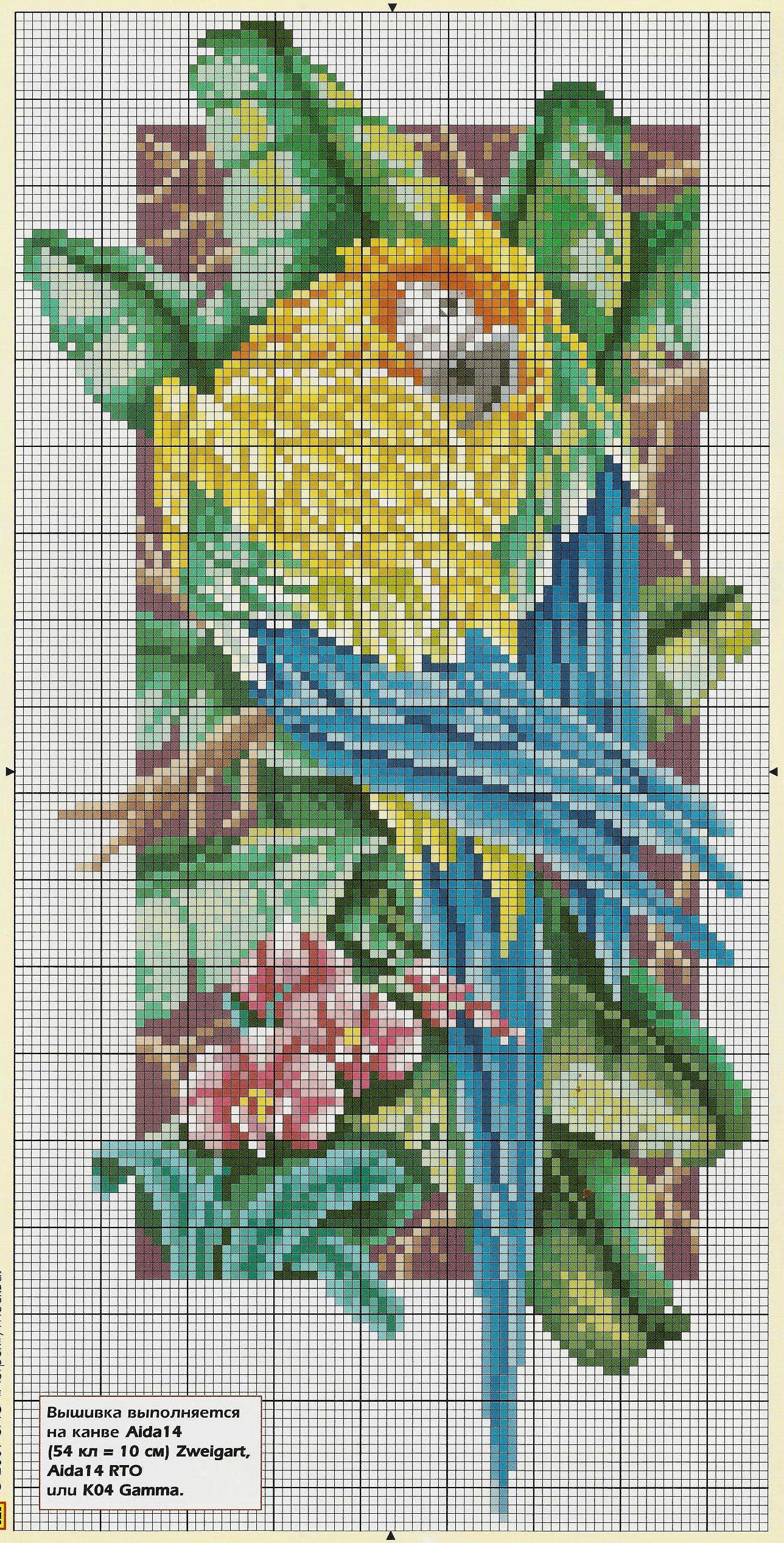 Схемы вышивки «попугаи» - Вышивка крестом 37