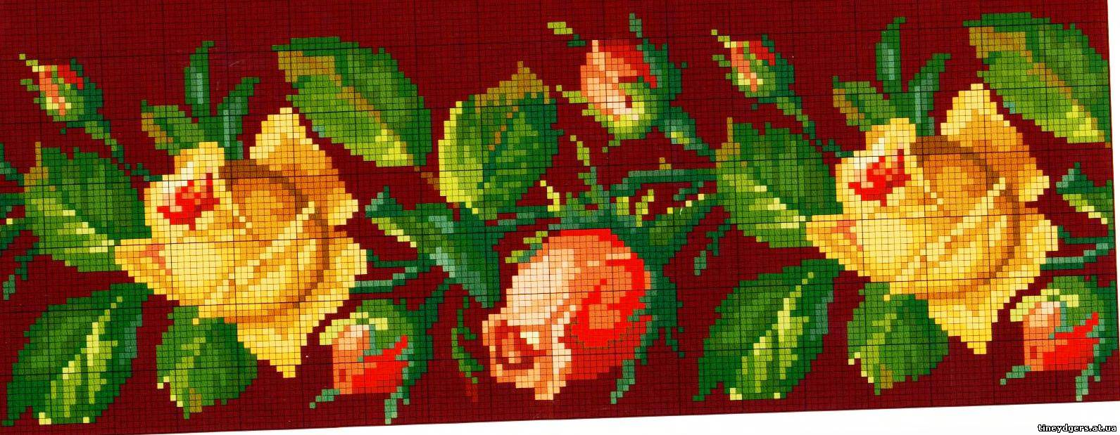 Бордюр розы вышивка крестом 4